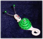 Metallic Green Snail Pin-Handmade with glazed Fimo. Nickel and silver wire are used for final details. Pins are embellished with Austrian crystals.
