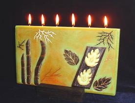 Rectangular Leaves Green Candle- from the Designer Candles Collection-  Beeswax handmade candle. Each piece is set one by one. Candle includes 6 wicks total. Beautiful for decoration and a unique wax piece of art. Wooden base is included. More designs will be available soon. Unique design!