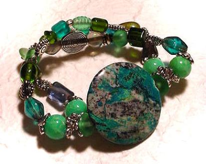Aventurine, Glass and Turquoise Bracelet $25.00