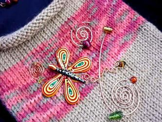 Hand-knitted with silk-wool. Decorated with a handmade Fimo butterfly, glass beads and copper wire. The butterfly is embellished with Austrian Crystals. Purse hanger is also handmade with copper and wooden beads. Unique design!
