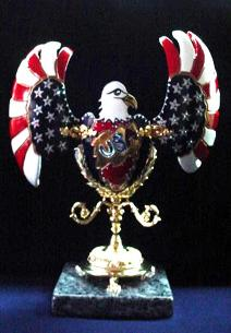 USA/Patriotic Hand-Carved and Decorated Ceramic Eggypiece