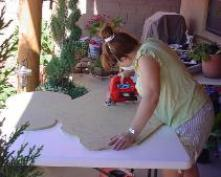 Mary, creating a Mermaid Wooden Figure custom made order for a Special Customer.