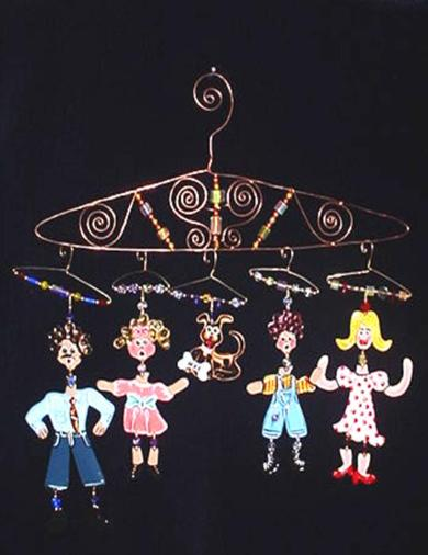 For the complete 'Hanger People Family Gang' Ornament (five characters only + FREE Hanger). This 'Hanger' is made of copper wire and embellished with unique handmade blown glass beads. Unique design made specially for this collection!