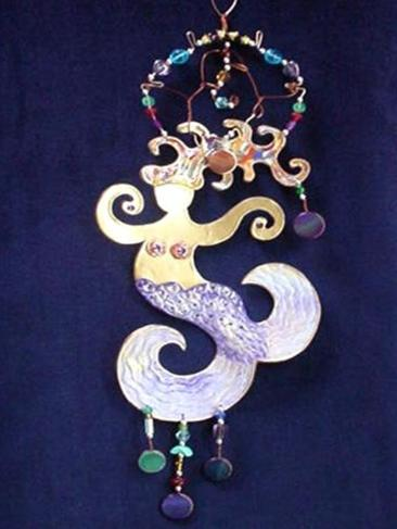 This porcelain decor ornament is painted in antique gold,translucent and bright colors paints. Gold enamel is used for final details. Embellished w/real polished stones. Accented w/Amethyst Austrian Crystals and glass beads. Copper and gold color wire are used for decor and hanging details. Unique Design!
